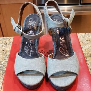 Denim Wedge Sandals.  NEW in box. 8.5